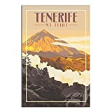 ZHBIN Teneriffa Vintage-Reise-Poster Mount Teide Vulkan