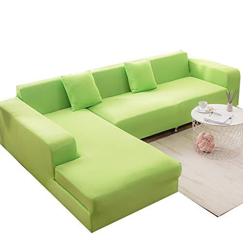 MKMKL Funda de sofá de alta elasticidad de color puro, sofá modular todo incluido, cubierta completa de sofá, a prueba de polvo y manchas, cubierta de sofá, color verde, XL