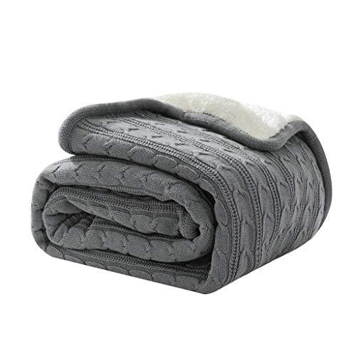 HKPLDE Kuscheldecke Fleece-gefüttert Stricken, Decke Strapazierfähig Abwaschbar Warm Weich Sesselbezug Tagesdecke Für Sofa Bett-Grau-150x200cm/59x79inch