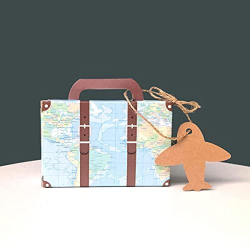 C.X.Y. 50pz Scatole Valigia Portaconfetti Bomboniera Viaggio Mappa Mondo con Etichetta Aereo