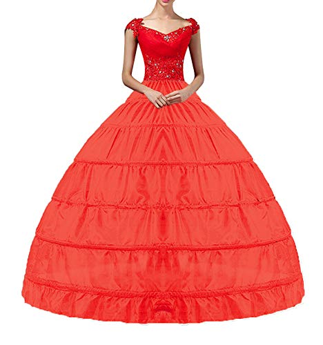 YULUOSHA Reifrock für Damen, Reifrock für Petticoat, Bodenlang, Unterrock für Ballkleid, Hochzeitskleid - Rot -
