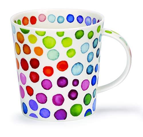 DUNOON Fine Bone China Kaffeebecher/Kaffeetasse Hot Spots, Bunte Punkte (Cairngorm)