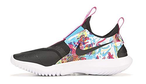 Nike Flex Runner (gs) Big Kids (Black/White-Fire Pink, Numeric_4)