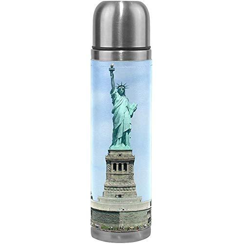 Like-like Estatua de la Libertad de Nueva York Ciclismo Aislamiento al vacío Niños Termo Frasco Botellas de Agua de Acero Inoxidable + Copa de Bebida + Cubierta de Cuero Se Adapta a 500 ml