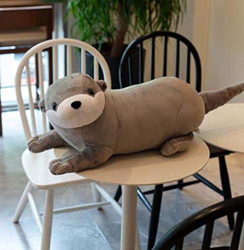 1pc 40/60/80CM Lovely Otter Plush Toys Stuffed Realistic Wild Animal Dolls Soft Sloth Pillow Christmas Room Decor Gift for Kids 60CM grey