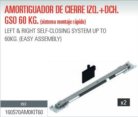 ADINOR SISTEMA MONTAJE RAPIDO AMORTIGUADOR (GSO/GSU) CIERRE PUERTAS CORREDERAS 60Kg DCH + IZQ (2 un.)