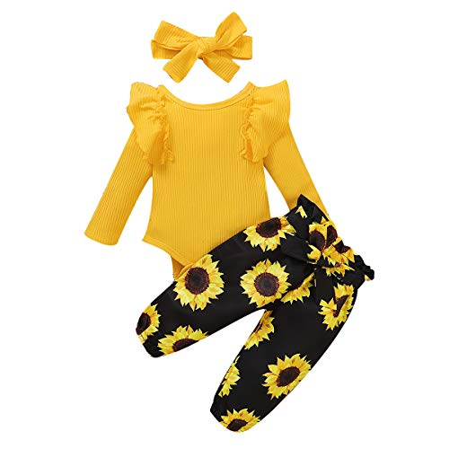 WESIDOM 3PCS Newborn Baby Girl Outfits,Infant Long Sleeve Ruffle Tops Romper Bodysuit and Floral Pants Clothes with Headband (Yellow+Black, 6-12months)