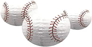 Sports Balls Paper Lanterns Baseball Set of Three for Party Decorations, Team Events, Sports Themed Parties, Home and Office Deco