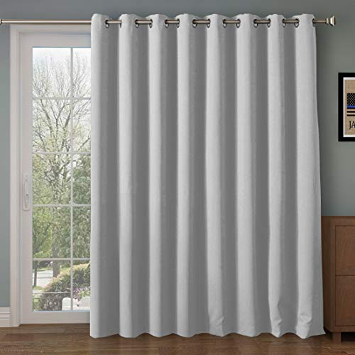 Wide Blackout Patio door Curtain Panel&Sliding door insulated curtains,Thermal&Extra Wide curtains,for curtain rod silver,Silver Grommet Top Blackout Curtains:100W by 84L Inches-Greyish White