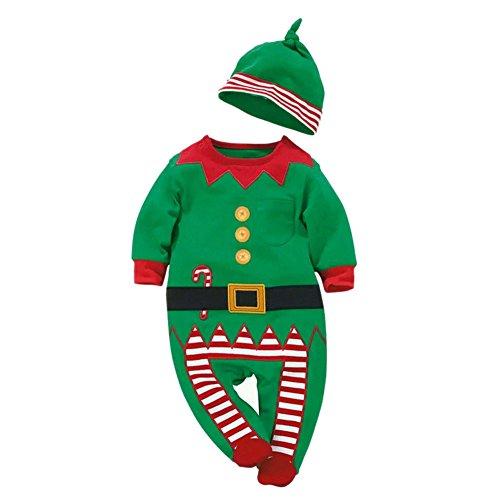 Chic-Chic Père Noël Déguisement Grenouillère Barboteuse Bonnet Enfant Bébé Cosplay Combinaison Pyjama Christmas Ensemble 6-12mois Vert