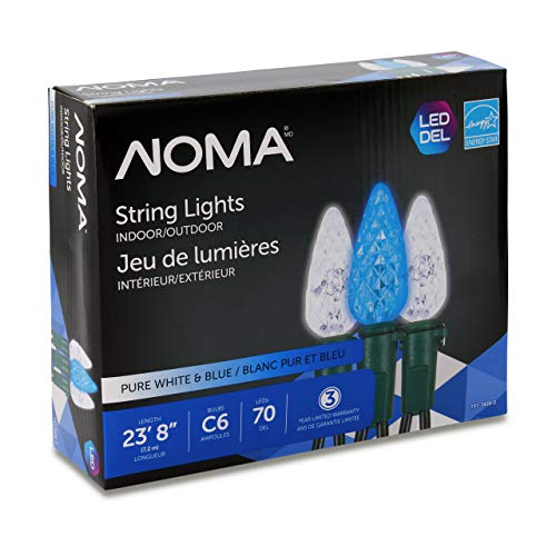 NOMA LED Christmas Lights | 70-Count C6 Blue & Pure White Bulbs | 23' 8' String Light | UL Certified | Outdoor & Indoor