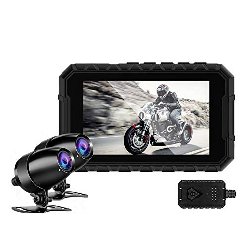 Motorcycle Dash Cam Camera,Wide Angle 150 Degree Motorbike Drive Recorder Camera Recorder DVR Dual Lens Full HD 1080P Front Rear View Night Vision Waterproof A1 Locomotive Recorder