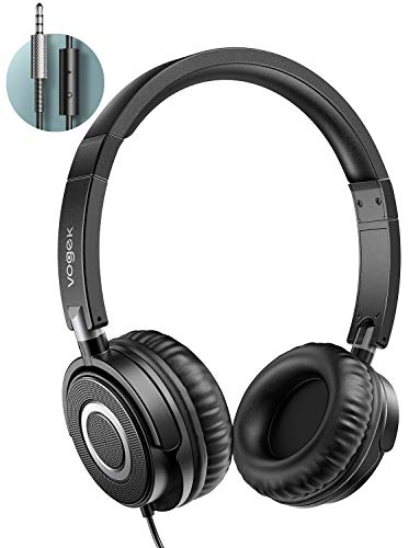 Kopfhörer auf Ohr, VOGEK Faltbare kabelgebundene on Ear Kopfhörer mit Verbessertem Bass und Stereo Sound, Headsets für TV, Handy, Laptop and andere Geräten