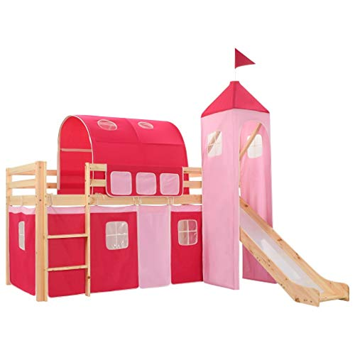 vidaXL Children's Loft with Slide & Ladder Pinewood Cot Pink and White/Brown
