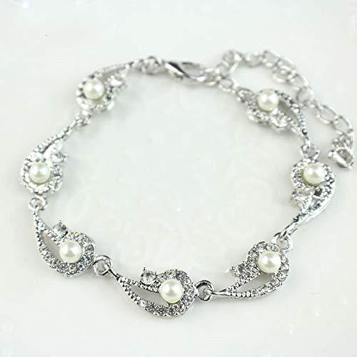 letaowl Pulsera de perlas de simulación pulsera de señoras de color dorado cadena de eslabones de cristal nupcial joyería pulsera y pulsera de plata