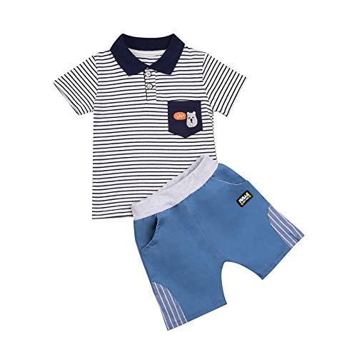 Conjunto de ropa de verano para bebé, 2 piezas, manga corta, diseño de rayas, camiseta y vaqueros, pantalones cortos, traje de verano pequeño, traje de bautizo de 0 a 3 años Rayas blancas. 2-3 Años