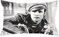 抱きしめる枕カバー両面印刷枕カバーmarlon Brando スター写真寝具新居寝室装飾(75 * 50cm)
