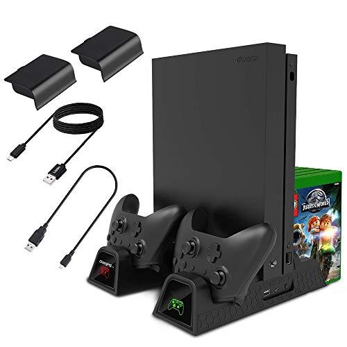 Lictin Supporto Verticale di Raffreddamento Xbox One–Controller Dual Charging Docking Station per Xbox One/Xbox One S/Xbox One X Console con 2batterie da 600mAh e 2PCS Charging Cables 25* 25cm