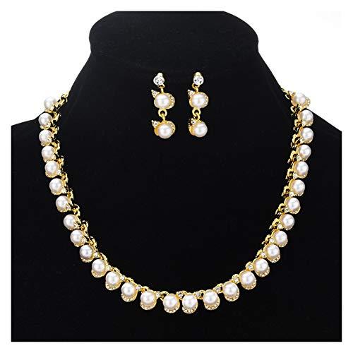 LPZW Collar Anillo de Orejas Juego de Joyas Japón y Corea del Sur Popular Noche de Novia Fotografías Accesorios Juego de Perlas Cadena (Color : One Size)