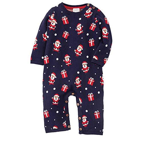Mud Pie Baby Boys Knit Santa One Piece, Blue, 3-6 Months