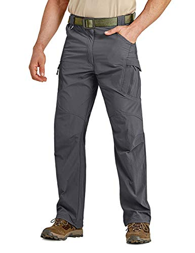CRYSULLY Men's Quick-Dry Pants Ultralight Hiking Sweatpants Breathable Tactical Pants Dark Grey
