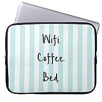 """UDDWifiコーヒーベッド引用文ウィズブルーパステルストライプ 10.1インチタブレットケース 衝撃吸収 撥水 ノートパソコン ラップトップ ケース 保護用スリーブ ipad 9.7 ポーチ Laptop Sleeve 9.7"""" iPad Pro/Air/Air 2 10.5"""" iPad Pro/Samsung Galaxy Tab用"""