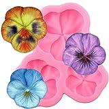 BeiQianE Moldes de Silicona de Flores DIY Boda Cupcake Topper Fondant Herramientas de decoración de Pasteles Candy Clay Chocolate moldes