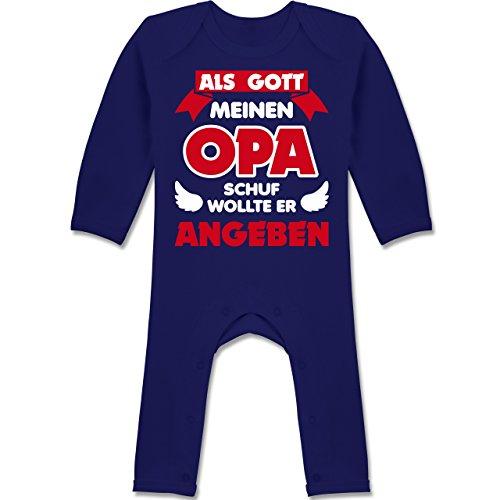 Shirtracer Sprüche Baby - Als Gott Opa Schuf - 12/18 Monate - Navy Blau - Familie - BZ13 - Baby-Body Langarm für Jungen und Mädchen