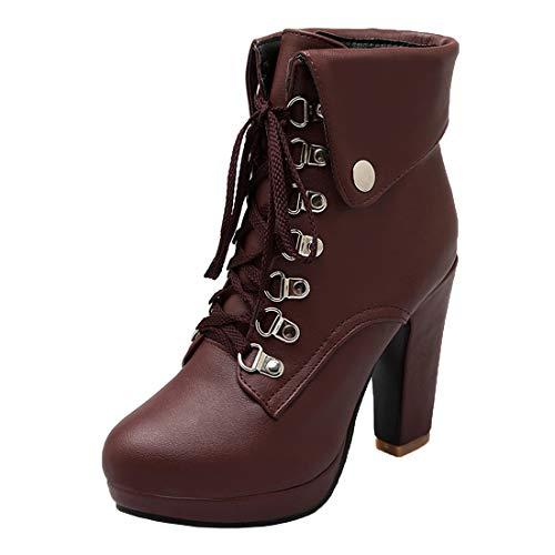 MISSUIT Damen Schnürstiefeletten Blockabsatz Plateau Ankle Boots High Heels Stiefeletten mit Schnürung Absatz 10cm Schuhe(Braun,35)