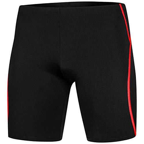 Aqua Speed Blake REVO Tronchi di Nuoto Lungo di Uomo Saldamente Seduto Miseria Protezione UV Resistente al Cloro Dimensionalmente Stabile Efficace Contro l'affaticamento Muscolare,S,Nero/Rosso/REVO