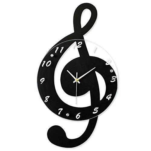 Orologio da parete in stile vintage, orologio da parete a forma di nota musicale, decorazione per la casa, per soggiorno, camera, colore: nero, 24*44cm