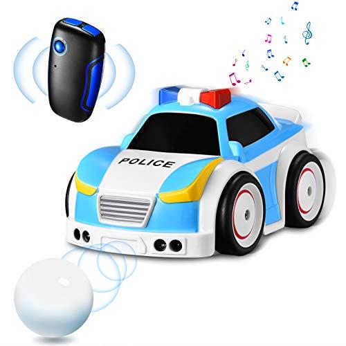 Ferngesteuertes Polizeiauto mit Fernbedienung, Funkprofi RC Car Musik Smart LKW Auto 4 Spielmodi Spielzeugauto Elektro 2,4 GHz Folgen für Kinder Baby Jungen Mädchen