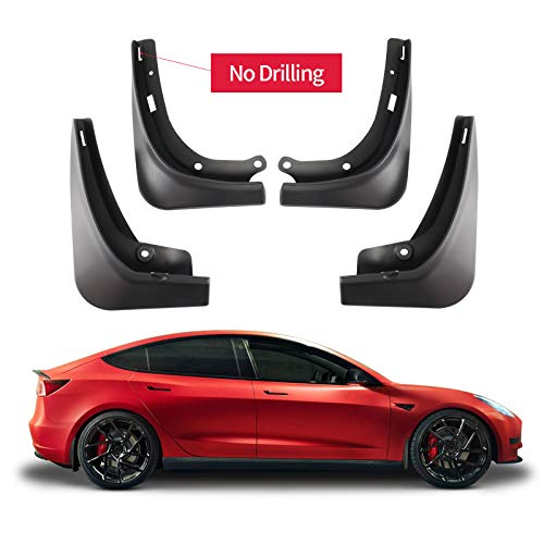 Carwiner Compatible with Tesla Model 3 Mud Flaps Splash Guards No Need to Drill Holes Fender Mud Guard Accessories 2016-2021 (Set of 4)