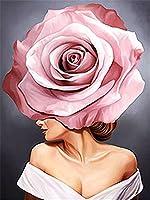 花と美しい10代の少女の肖像画﹣帆布のポスタポスター帆布絵画現代絵画を印刷モダンでシンプルな装飾用絵画﹣40x50cm(フレームなし)