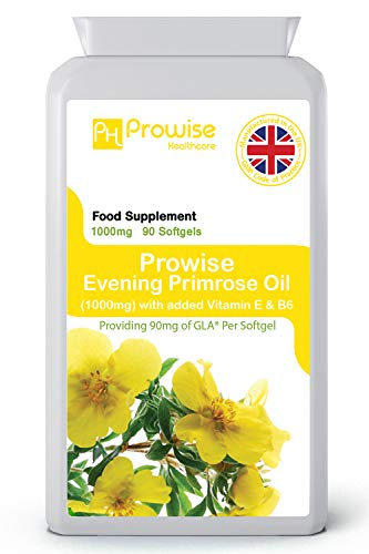 Nattljusolja 1000 mg tillsatt med vitamin E & B6 90 mjukgeler - tillverkad i Storbritannien | GMP-standarder från Prowise Healthcare