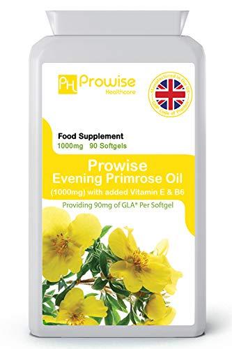 Olio di enotera 1000mg aggiunto con vitamina E e B6 90 Softgels - Supporta livelli di ormoni bilanciati, salute mestruale nelle donne - Prodotto nel Regno Unito |...