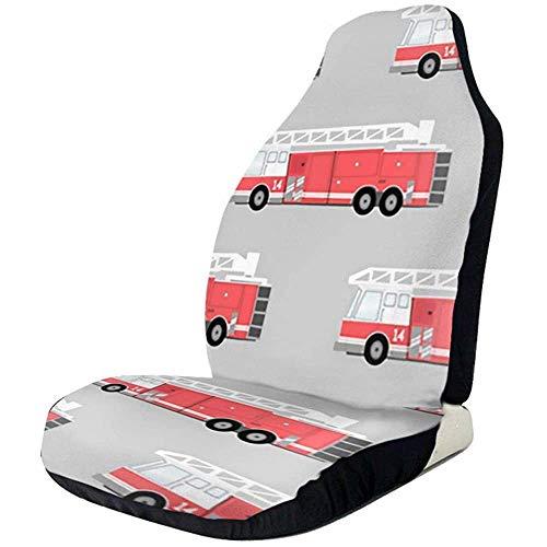 Cartoon Fire Vrachtwagen Stoelhoezen Auto Voorstoelen Beschermer