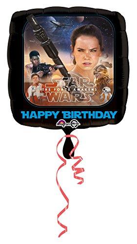 amscan Anagram 3162001 - Folienballon Disney Star Wars Episode VII, Good und Bad Characters mit Happy Birthday Aufschrift, 43 x 43 cm
