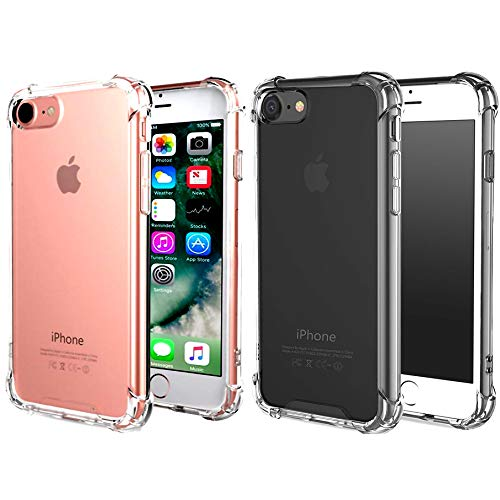 CaseHQ iPhone 6 Plus Case, iPhone 6s Plus Case,Crystal Clear Shock Absorption Bumper Slim Fit,Heavy Duty Protection TPU Case for Apple iPhone 6 Plus/iPhone 6s Plus -Clear+clearblack