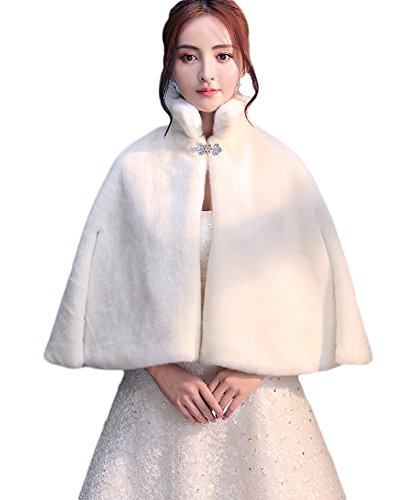 Icegrey Damen Kunstpelz Braut Umhang Mit Strass Brosche Und Stehkragen Hochzeit Cape Winter Schal Für Abend Partei Brautjungfern Elfenbein Weiß