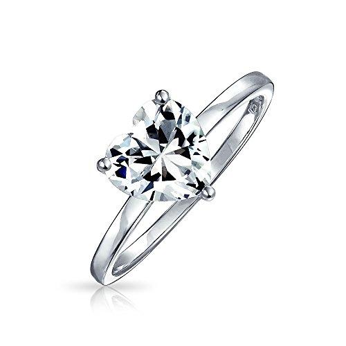 Bling Jewelry 2Ct AAA CZ Solitario Engagement En Forma De Corazón Anillo De Promesa De Banda Fina Plata Esterlina 925 para Mujer