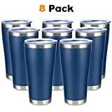 COKTIK 32oz Tumbler 8 Pack Double Wall Vacuum Insulated Travel Mug Bulk, Stainless Steel Tumblers with Lid and Straw, Durable Powder Coated Coffee Cups for Cold & Hot Drinks
