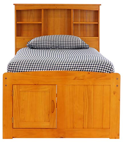 Twin Captains Bed Bookcase with 6 Drawers, Desk, Hutch and Chair in Honey Finish