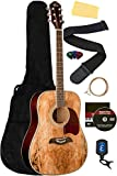 Oscar Schmidt OG2SM Spalted Maple Dreadnought Acoustic Guitar Bundle with Gig Bag, Tuner, Strings, Strap, Picks, Instructional DVD, and Polishing Cloth