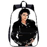 RomantiassLu Michael Jackson Sacs à dos d'école pour enfants Cartable imprimé en 3D Sac à dos d'école à la mode Sac à dos de voyage en toile