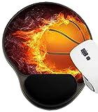 ASKSWF Tapis de Souris Tapis de Souris protégés par Repose-Poignets, Tapis avec Support de Poignet, Ballon de Basket-Ball en feu Conception Graphique en 2D Image ID 6742973