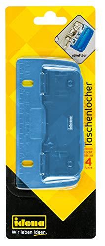 Idena 22100 - Taschenlocher, Lochung bis zu 4 Blatt, blau transparent, 1 Stück