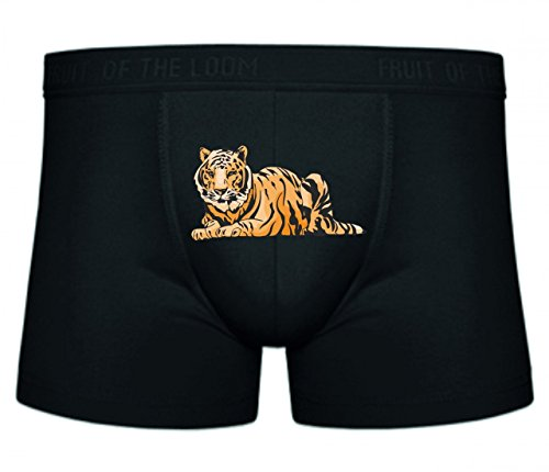Druckerlebnis24 Boxershort Tiger liegt Boden schaut gefährlich Raubtier Wildnis Afrika Dschungel S- XXL Sexy Unterhose Slip Shorts