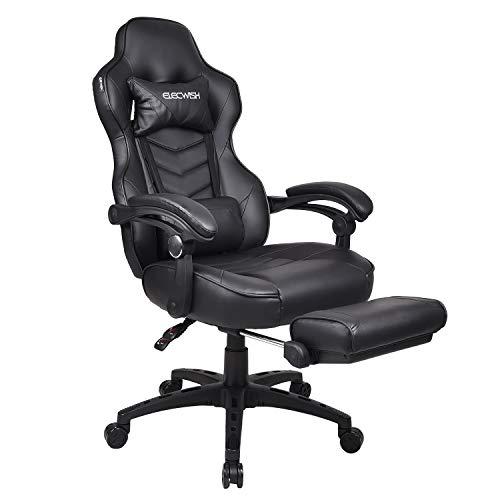 YUSING Gaming Stuhl Computerstuhl Racing Stuhl Ergonomisches Sportsitz Höhenverstellbarer Bürostuhl Chefsessel Schreibtischstuhl mit Kopfstützen, Verstellbaren Armlehnen Fußstützen (Schwarz)