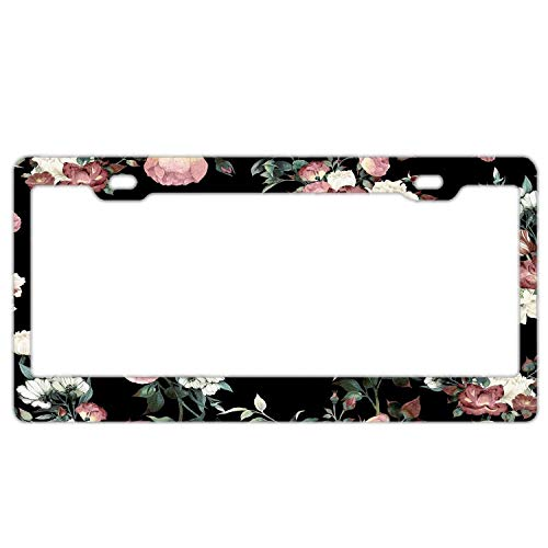 Vintage Pink and Cream Dark Floral Aluminum Metal License Plate Frame Tag with Chrome Screw Caps - Car License Plate Covers for US Vehicles